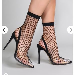 Wink Clear Perspex Fishnet Heels
